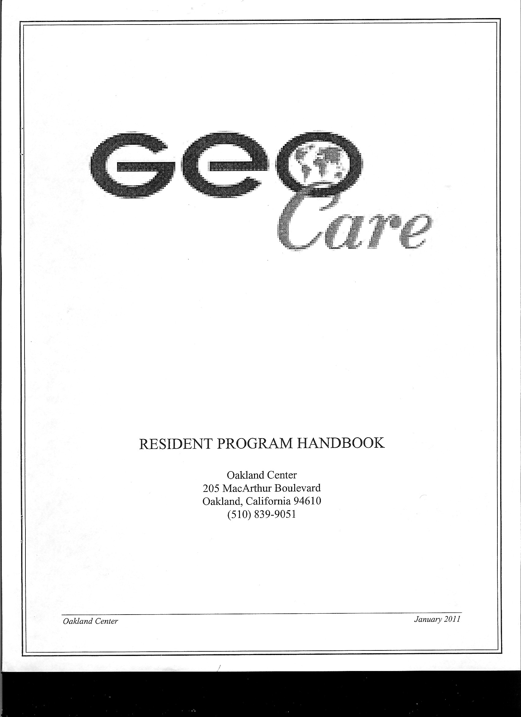 Oakland Halfway House Resident Handbook–Complete