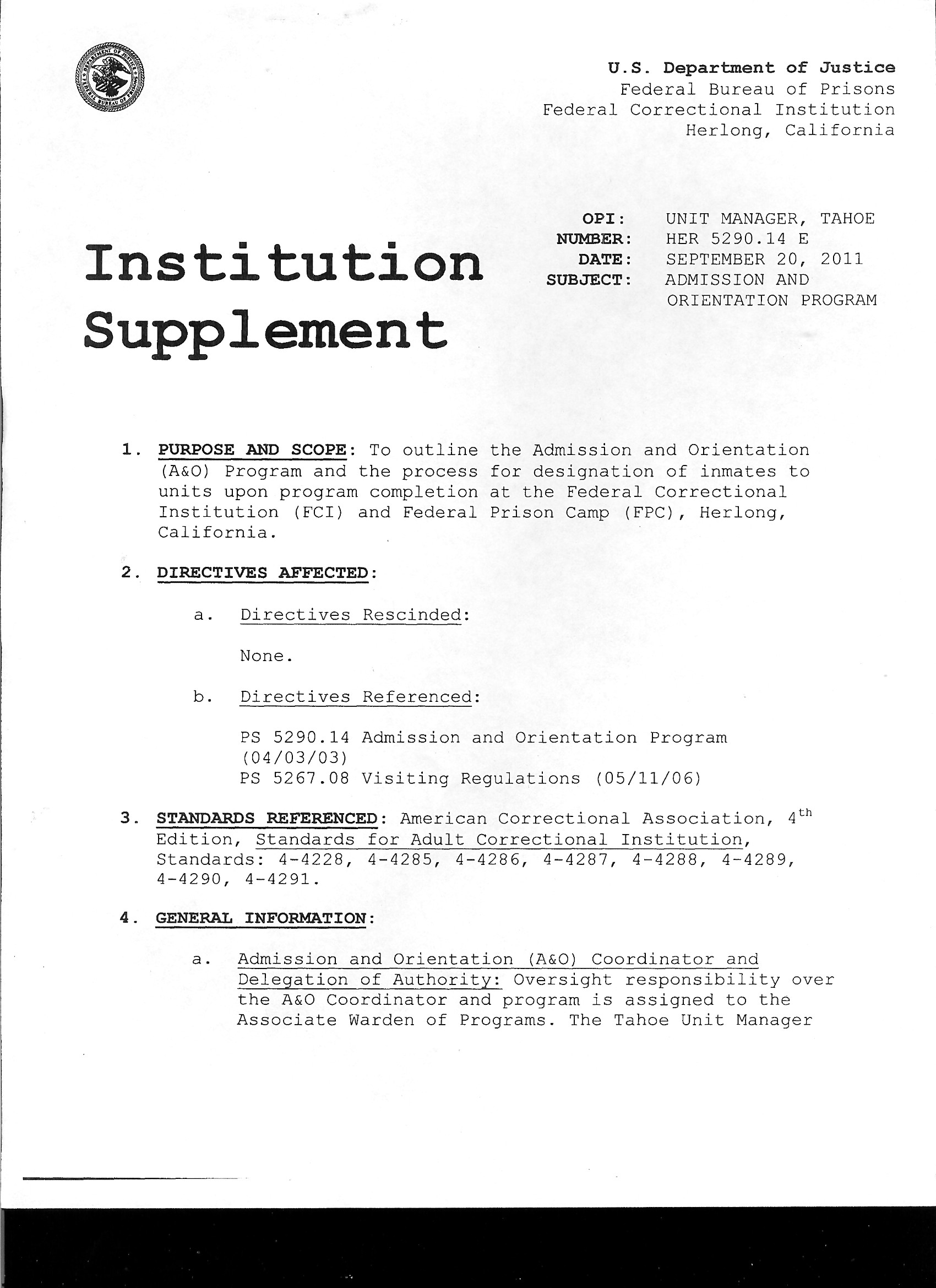 Institution Supplement 01