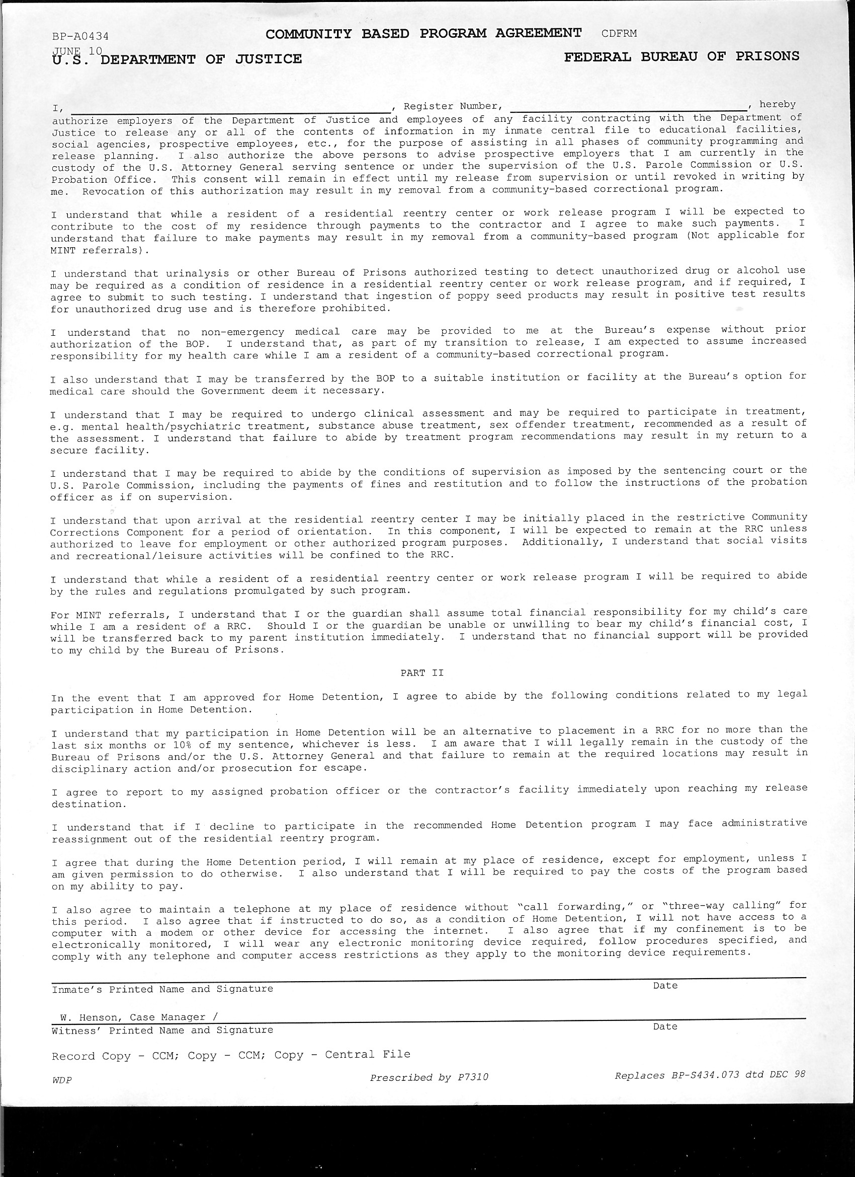 community based Program Agreement