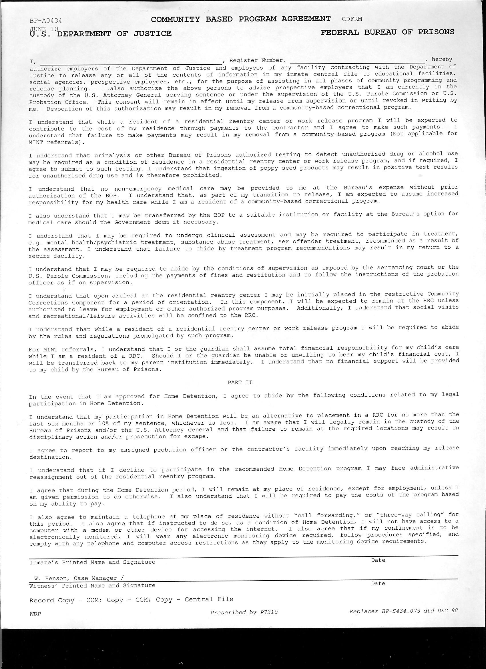 community based Program Agreement